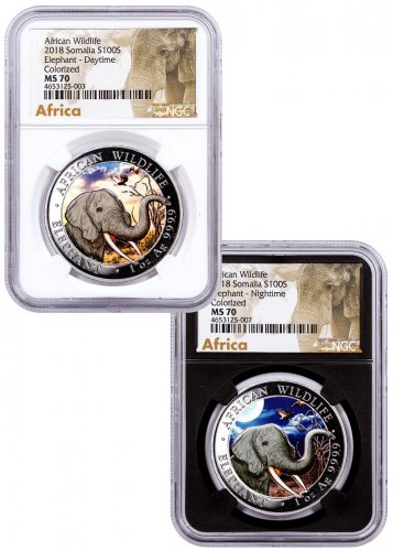 2018 Somalia African Wildlife - Day and Night Elephant 2-Coin Set 1 oz Silver Colorized Prooflike Sh100 Coin NGC MS70 White + Black Core Exclusive African Elephant Label