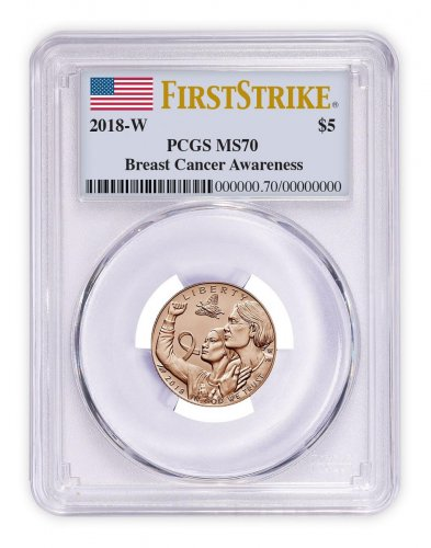 2018-W Breast Cancer Awareness Commemorative Pink Gold $5 Coin PCGS MS70 FS