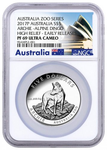 2017 Australia Australia Zoo - Archie the Alpine Dingo High Relief 1 oz Silver Proof $5 Coin NGC PF69 UC ER (Exclusive Australia Label)