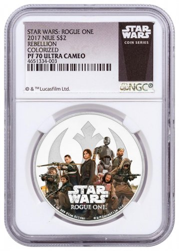 2017 Niue Star Wars: Rogue One - Rebellion 1 oz Silver Colorized Proof $2 NGC PF70 Exclusive Star Wars Label