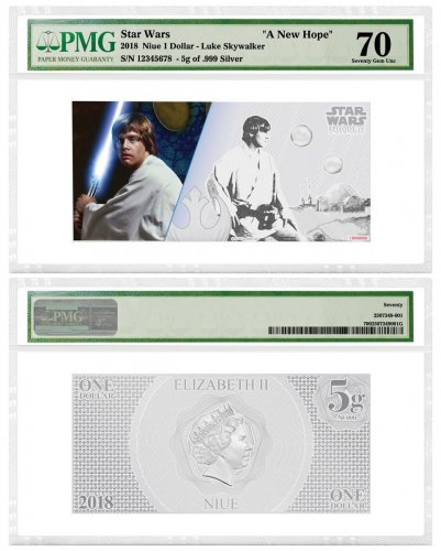 2018 Niue Star Wars: A New Hope - Luke Skywalker Foil Note 5 g Silver Colorized $1 Coin PMG Gem Unc 70