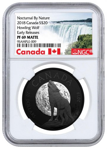 2018 Canada Nocturnal By Nature - The Howling Wolf 1 oz Black Rhodium Plated Silver Matte Proof $20 Coin NGC PF69 ER Exclusive Canada Label