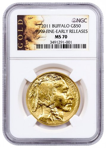 2011 1 oz Gold Buffalo $50 Coin NGC MS70 ER (American Liberty Series Label)