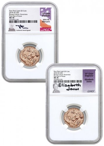 2-Coin Set - 2018-W Breast Cancer Awareness Commemorative Pink Gold $5 Coins NGC MS70 FDI Mercanti + Jones Signed Labels