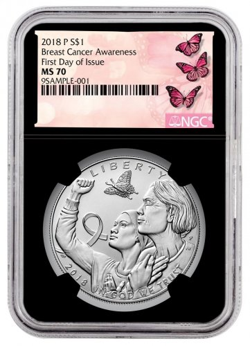 2018-P Breast Cancer Awareness Commemorative Silver Dollar Coin NGC MS70 FDI Black Core Holder