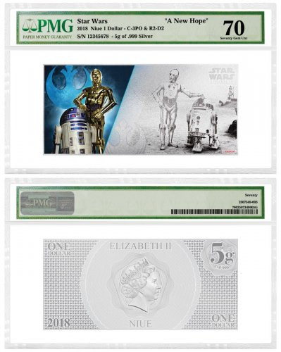 2018 Niue Star Wars: A New Hope - R2-D2 and C-3PO Foil Note 5 g Silver $1 Coin PMG Gem Unc 70