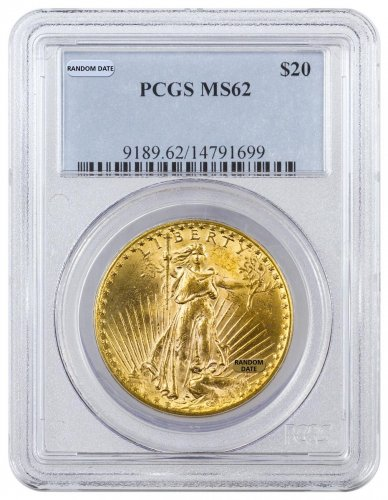 Random Date 1908-1932 Saint-Gaudens (With Motto) $20 Gold Double Eagle PCGS MS62