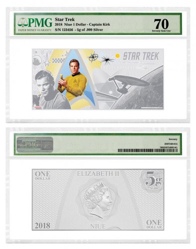 2018 Niue Star Trek: The Original Series - Captain James T. Kirk Foil Note 5 g Silver $1 Coin PMG Gem Unc 70