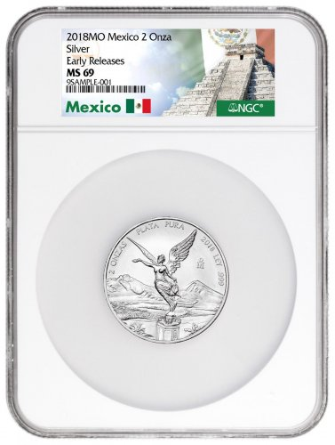 2018 Mexico 2 oz Silver Libertad Coin NGC MS69 ER Exclusive Mexico Label