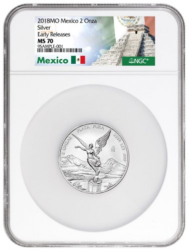 2018 Mexico 2 oz Silver Libertad Coin NGC MS70 ER Exclusive Mexico Label