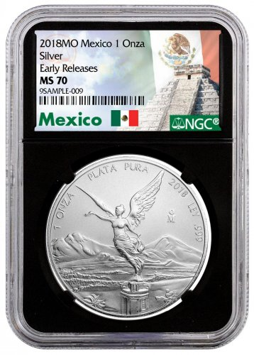 2018-Mo Mexico 1 oz Silver Libertad Coin NGC MS70 ER Black Core Holder Exclusive Mexico Label