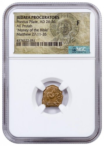Roman Province of Judaea, Bronze Prutah of Pontius Pilate (AD 26-36) - Money of the Bible - NGC F (Christ Label)