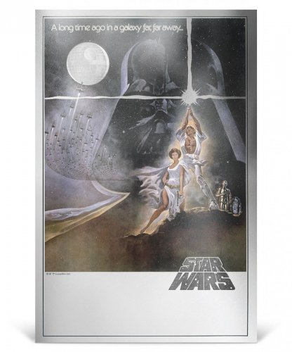 2018 Niue Star Wars Posters - A New Hope Silver Foil Note 35 g Silver Colorized $2 Mint OGP