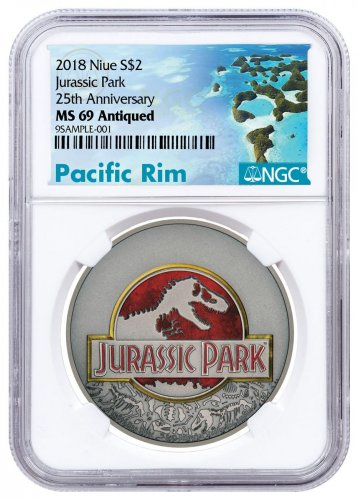2018 Niue Jurassic Park 25th Anniversary 1 oz Silver Colorized Antiqued $2 Coin NGC MS69 Exclusive Pacific Rim Label