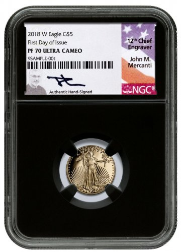 2018-W 1/10 oz Gold American Eagle Proof $5 NGC PF70 UC FDI Black Core Holder Mercanti Signed Label