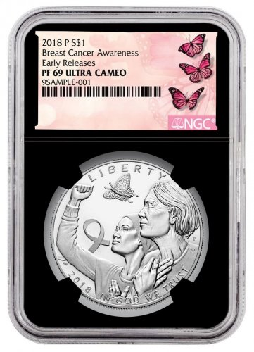 2018-P Breast Cancer Awareness Commemorative Silver Dollar Proof Coin NGC PF69 UC ER Black Core Holder Breast Cancer Label