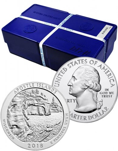 Monster Box of 100 - 2018 Apostle Islands 5 oz. Silver America the Beautiful Coins GEM BU