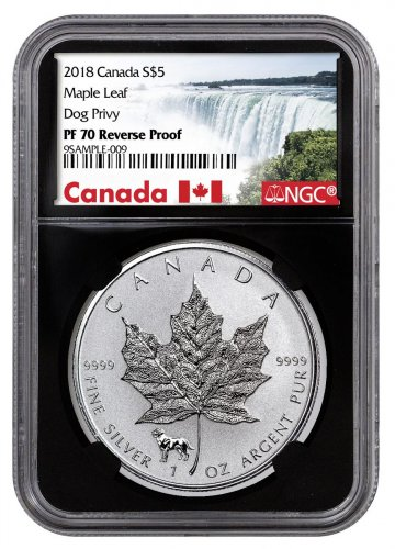 2018 Canada 1 oz Silver Maple Leaf - Dog Privy Reverse Proof $5 Coin NGC PF70 Black Core Holder Exclusive Canada Label