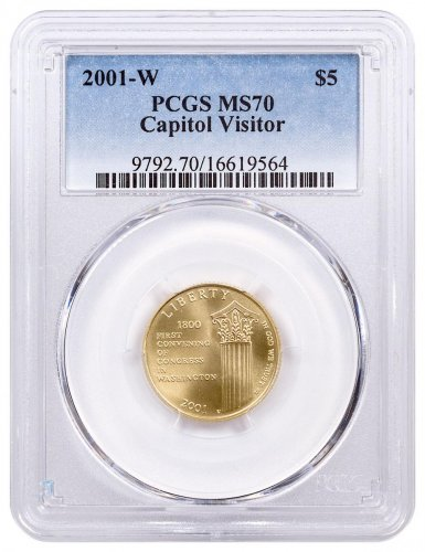 2001-W U.S. Capitol Visitor Center $5 Gold Commemorative Coin PCGS MS70