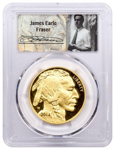 2014-W 1 oz Gold Buffalo Proof $50 PCGS PR70 Fraser Label