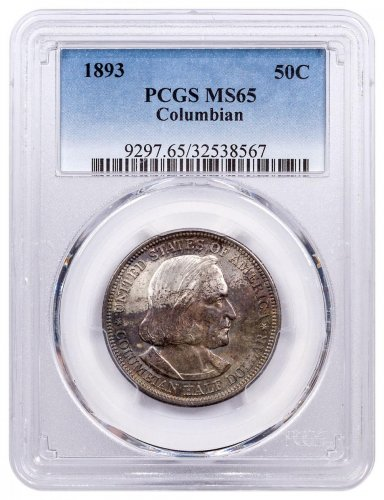 1893 Columbian Commemorative Silver Half Dollar Coin PCGS MS65