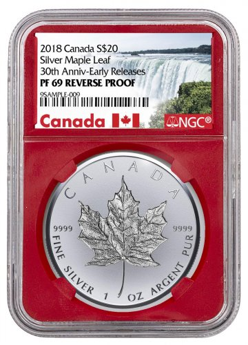 2018 Canada 1 oz Silver Maple Leaf - Incuse Reverse Proof $20 Coin NGC PF69 ER Red Core Holder Exclusive Canada Label