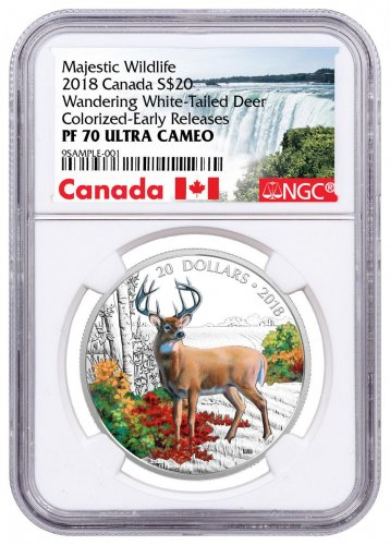 2018 Canada Majestic Wildlife - Wandering White-Tailed Deer 1 oz Silver Colorized Proof $20 Coin NGC PF70 UC ER Exclusive Canada Label