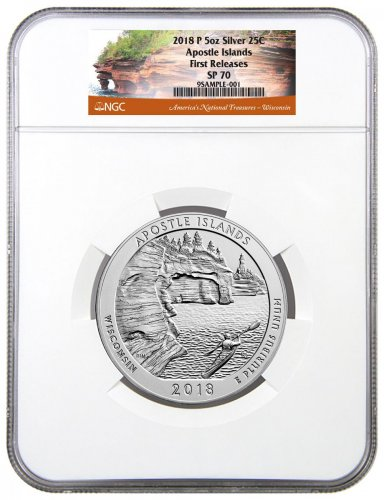2018 Apostle Islands 5 oz. Silver America the Beautiful Specimen Coin NGC SP70 FR