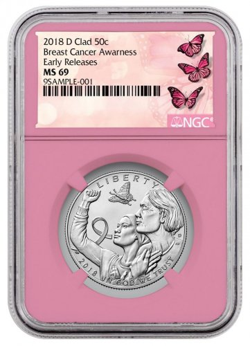 2018-D Breast Cancer Awareness Commemorative Clad Half Dollar Coin NGC MS69 ER Pink Core Holder Breast Cancer Label