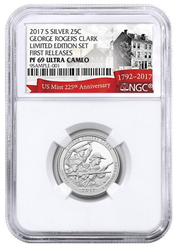 2017-S Silver George Rogers Clark National Historical Park Proof America the Beautiful Quarter From Limited Edition Silver Proof Set NGC PF69 UC FR Exclusive U.S. Mint 225th Anniversary Label