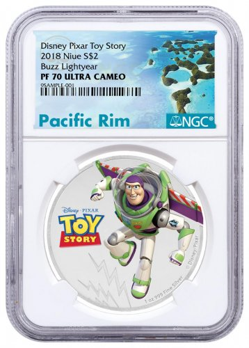 2018 Niue Disney Toy Story - Buzz Lightyear 1 oz Silver Colorized Proof $2 Coin NGC PF70 UC Exclusive Pacific Rim Label