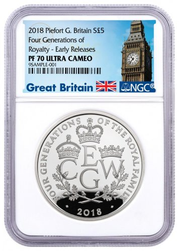 2018 Great Britain Four Generations of Royalty Piedfort Silver Proof £5 Coin NGC PF70 ER