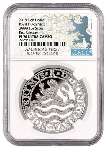 2018 Netherlands Silver 1 Lion Dollar NGC PF70 UC FR