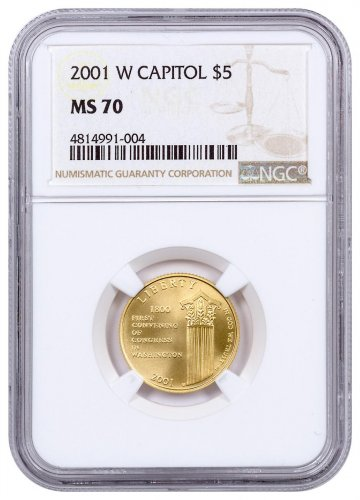 2001-W U.S. Capitol Visitor Center $5 Gold Commemorative Coin NGC MS70