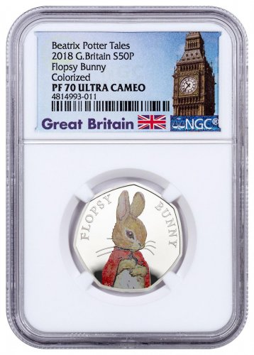 2018 Great Britain Beatrix Potter - Flopsy Bunny 8 g Silver Colorized Proof 50p Coin NGC PF70 UC Exclusive Big Ben Label