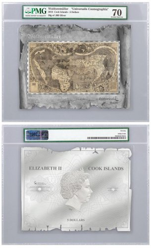 2018 Cook Islands Historical Maps - Universalis Cosmographia Foil Note 30 g Silver Prooflike $5 Coin PMG Gem Unc 70