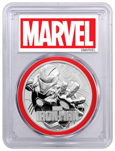 2018 Tuvalu Iron Man 1 oz Silver Marvel Series $1 Coin PCGS MS69 FS Red Gasket Marvel label