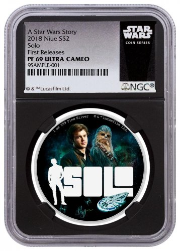 2018 Niue Han Solo: A Star Wars Story 1 oz Silver Colorized Proof $2 Coin NGC PF69 UC FR Black Core Holder Exclusive Star Wars Label