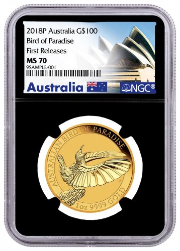 2018-P Australia 1 oz Gold Bird of Paradise $100 Coin NGC MS70 FR Black Core Holder Exclusive Australia Label