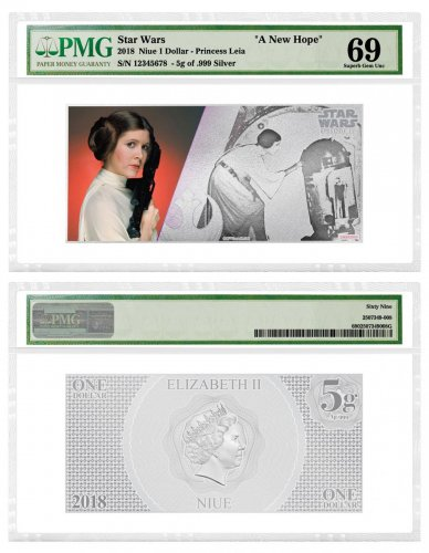 2018 Niue Star Wars: A New Hope - Princess Leia Organa Foil Note 5 g Silver Colorized Proof $1 Coin PMG GEM Unc 69