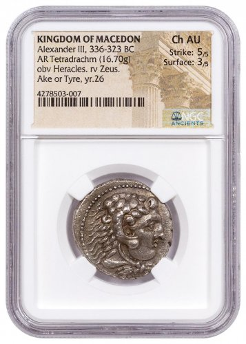 "Macedon, Silver Tetradrachm of Alexander III ""the Great"" (336-323 BC) - NGC Ch.AU (Strike: 5/5, Surface: 3/5) HIGH RELIEF/STRUCK 323 BC"
