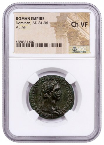Roman Empire, Bronze As of Domitian (AD 81-96) - NGC Ch.VF (Ex: Spink, 1935) IMPORTANT PEDIGREE