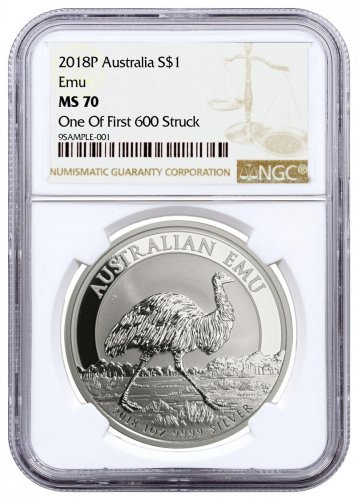 2018-P Australia 1 oz Silver Emu $1 Coin NGC MS70 One of First 600 Struck