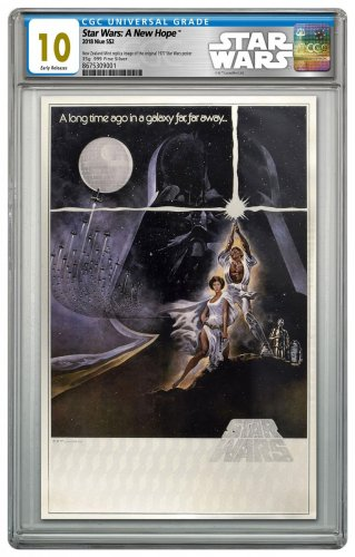 2018 Niue Star Wars Posters - A New Hope Silver Foil Note 35 g Silver Colorized $2 Coin CGC GEM Mint 10 ER Star Wars Label