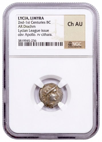 Lycia, Silver Drachm of the Lycian League (2nd-1st Centuries BC) - obv. Apollo/rv. Cithara NGC Ch.AU