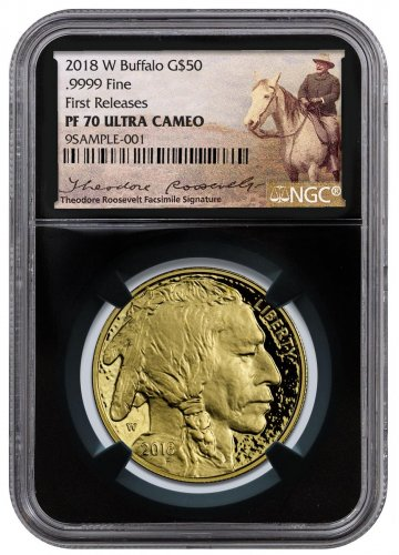 2018-W 1 oz Gold Buffalo Proof $50 Coin NGC PF70 UC FR Black Core Holder Exclusive Teddy Roosevelt Label