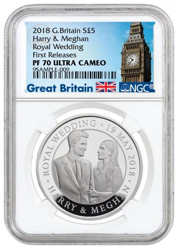 2018 Great Britain The Royal Wedding Silver Proof £5 Coin NGC PF70 UC FR Exclusive Big Ben Label