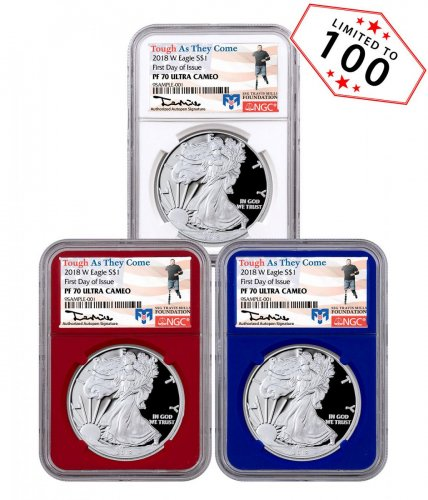 3-Coin Set - 2018-W Proof American Silver Eagle NGC PF70 UC FDI Red + White +Blue Core Holders Travis Mills Signed Label
