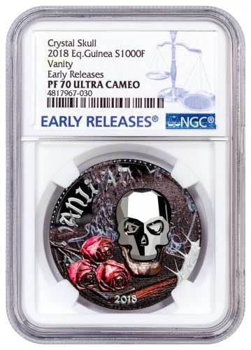 2018 Equatorial Guinea Crystal Skull - Vanity 1 oz Silver Colorized Proof Fr.1,000 Coin with Swarovski Crystal Skull NGC PF70 UC ER