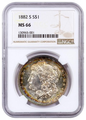 1882-S Morgan Silver Dollar Toned NGC MS66 CPCR 5001